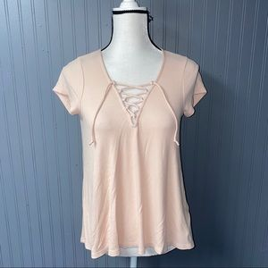 Women's hollister lace up short sleeve top tee s